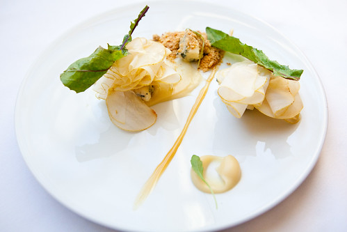 Blue Cheese with pear, chestnut honey, and bitter greens