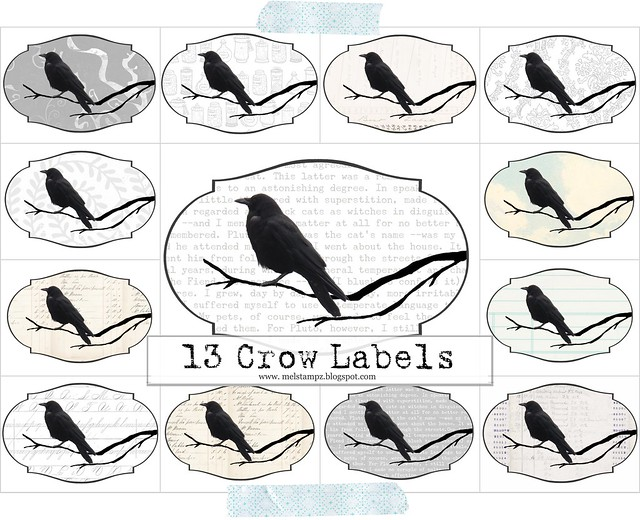 13 Crow Labels collage mel stampz