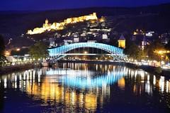 night lights (Ioseb Berulashvili) Tags: bridge blue reflection water night river georgia lights embankment tbilisi kura narikala oldtbilisi mtkvari nariyala sionicastle