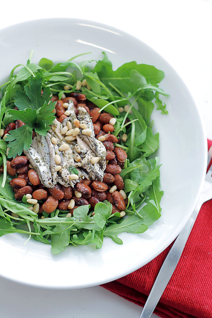 Anchovies, Beans and Rocket (arugula)