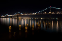 Quiet night on the Bay. (tigerscorpion) Tags: sanfrancisco california longexposure baybridge starburst d90 tokina1116mm apertureacademyworkshop nightowlsworkshop