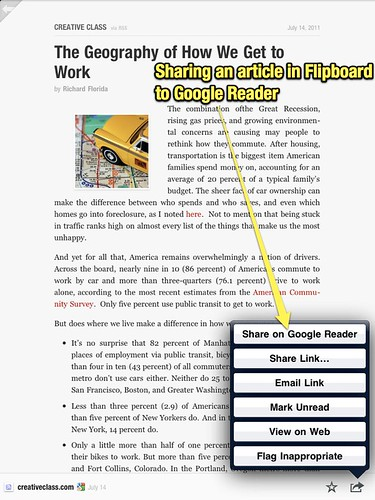 Sharing Flipboard article to Google Reader