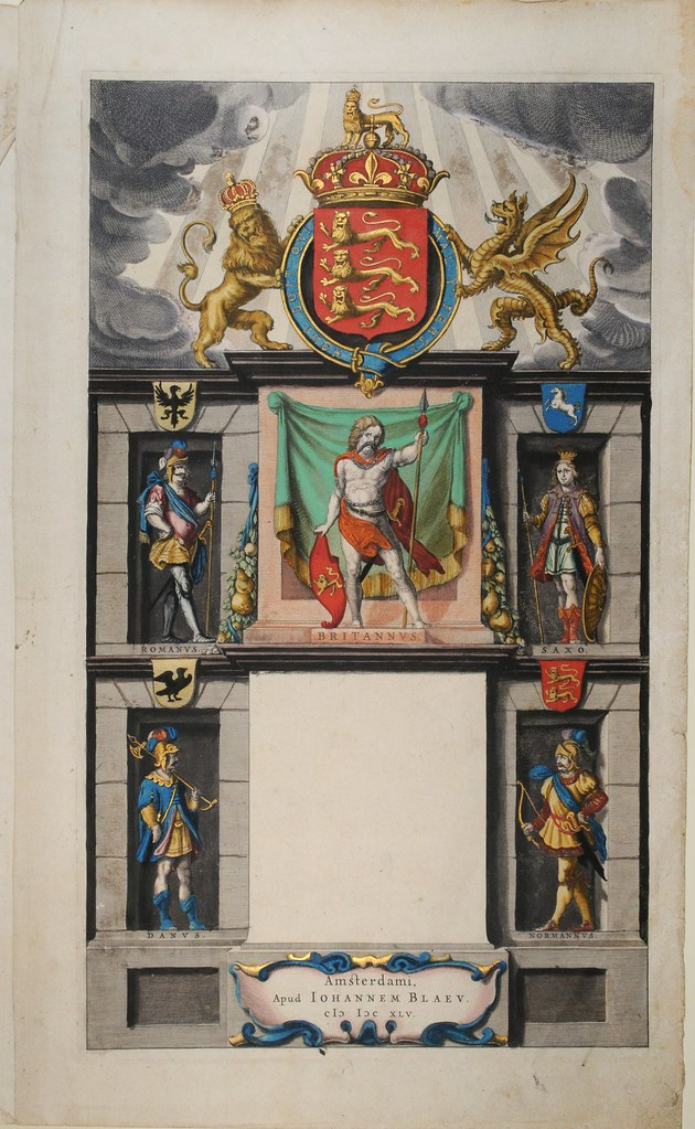 Incomplete hand-painted titlepage (Blaeu): military figures in monument alcoves and coat of arms above