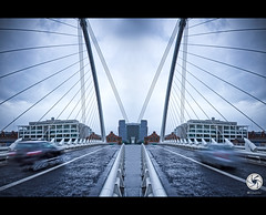 Symmetry of Samuel Beckett (M Fotografie) Tags: road city longexposure bridge blue ireland light dublin irish motion black blur cold lines clouds photoshop canon mirror cool europe exposure flickr european country dramatic eire symmetry tamron beckett samuel vc toning 2011 tamron1750 60d canon60d flickraward flickraward5
