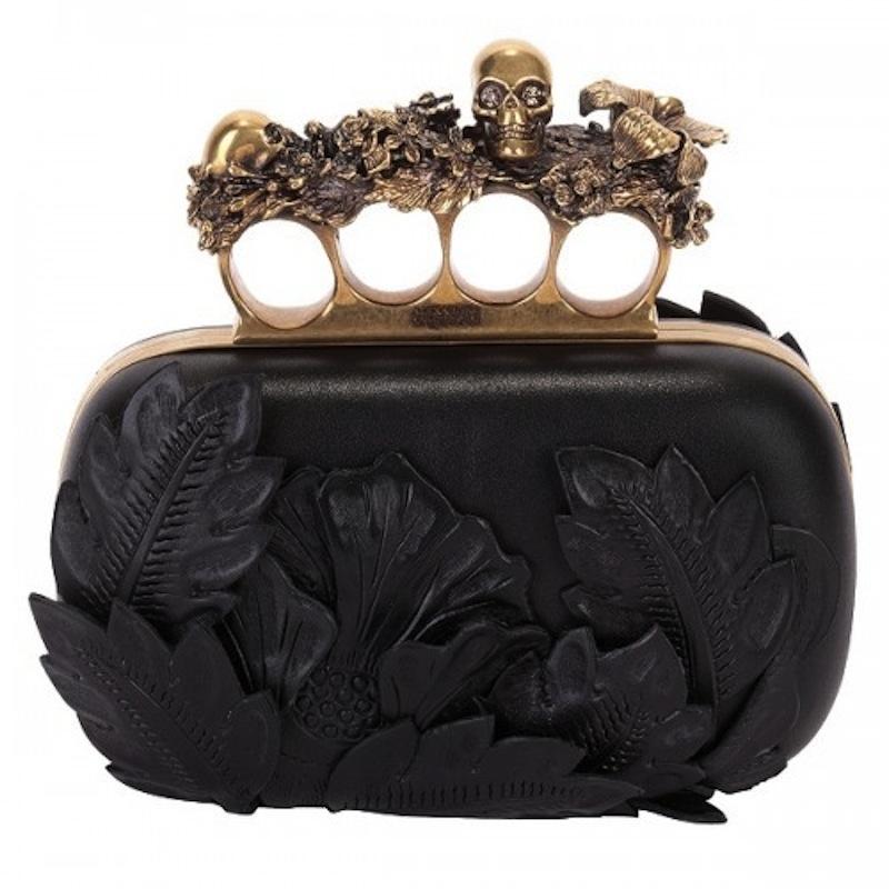 Alexander-McQueen-black-3D-flower-knuckle-box-clutch-1-500x500