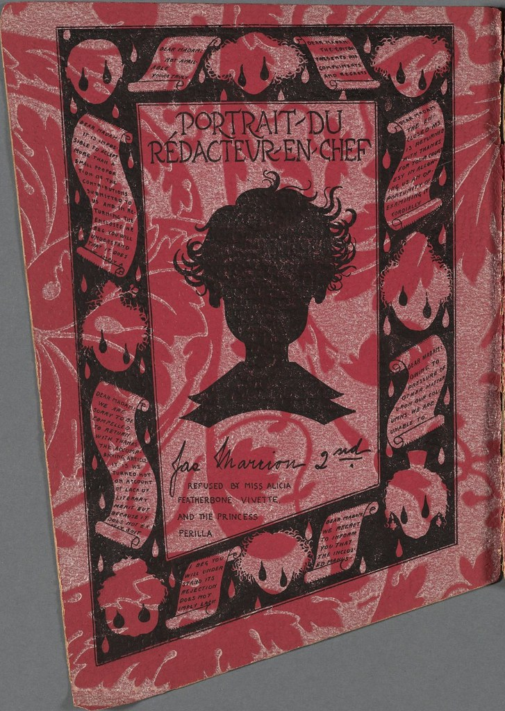silhouette head on red-patterned paper