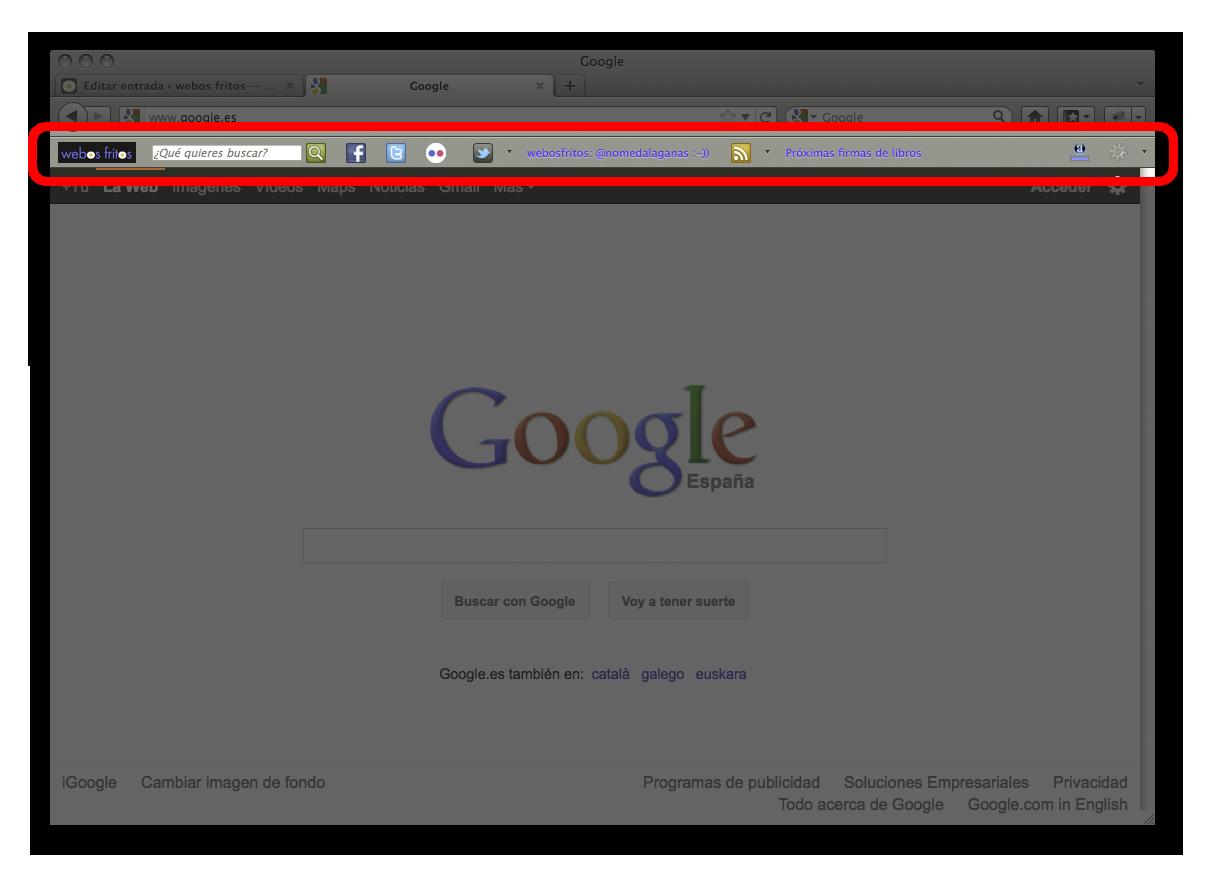 Barra de herramientas de webosfritos