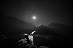 Moon, Milky Way and Annapurna III (7555 m) (Oleg Bartunov) Tags: flickraward