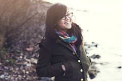 TIFFANY (lauren s_) Tags: winter cold fall water girl smile scarf outside 50mm glasses evening laugh chilly belleaisle