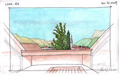 La vista dal balcone (Alberto Mmh) Tags: italy sketch watercolour sudtirol sletch urbansketch