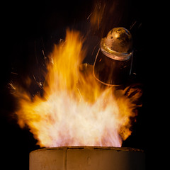 furnace tender (f.larkin) Tags: hot industry bronze fire iron artist industrial glow steel weld flame smokestacks heat melt grime furnace sparks ladel relic molten ironore sloss blastfurnace slossfurnaces metalarts