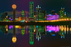 Dallas Texas - Trinity River - Skyline (Matt Pasant) Tags: city longexposure water skyline night river dallas texas tx trinity dfw omni canonef2470mmf28l