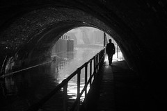 Goodbye, Darkness (Keith Marshall) Tags: uk england blackandwhite bw london water silhouette canon eos canal camden tunnel negativespace regentscanal lissongrove 1755is 60d canon60d gapsub 3waybest2012