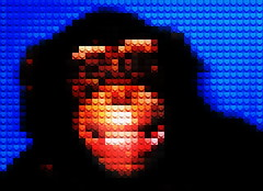 Chimp Face (William Keckler) Tags: portrait face faces lego chimp pixelart chimpanzee pixels primate chimps adaptation monkeyface primates interpretation chimpanzees janegoodall legoart legoportrait chimpface