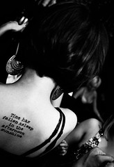 Fahrenheit 451 pt. 2 (Rasidel Slika) Tags: bw sexy girl tattoo hair book words back mood ray dress quote earring style tattoos fahrenheit 451 strap bradbury earrings hairstyle