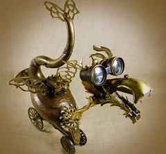 QUIRK - The Steampunk Baby Dragon - Reclaim2Fame - Robot Assemblage (Reclaim2Fame) Tags: sculpture metal altered robot dragon recycled mixedmedia medieval copper beast contraption creature brass foundobject myth beastie recycledmaterials steampunk upcycled recycledmetal robotassemblage executivetoys vintageobjects steampunkart steampunksculpture steampunkrobot steampunkassemblage steampunkdragon steampunkcreature
