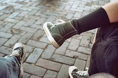 Air Walks and Converse (ilovecoffeeyesido) Tags: leica film analog 35mmfilm converse airwalks naturalcolor 160iso sooc blackconverse hightopconverse kodakportrafilm leicaafc1 kodakprofessionalportranc160 blackairwalks