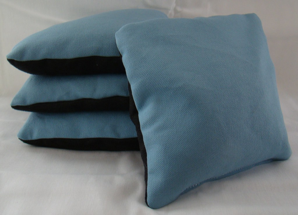 Light Blue & Black Suede Dual Sided Cornhole Bags
