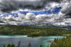 Emerald Lake, Yukon Territory, Canada (Thad Roan - Bridgepix) Tags: cruise blue summer sky mountain lake canada green nature water alaska clouds forest landscape photo highway image princess picture skagway yukon emerald hdr klondike carcross bridgepix cariboucrossing 201106 378x7