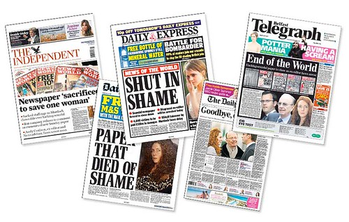 Frontpages of UK newspapers