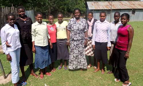 Counselor Caro and some of her rescued girls - Miriam is in the pink on the far right.