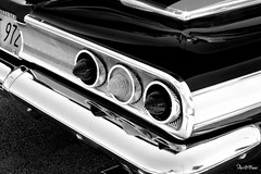 reminiscing (Stu Bo) Tags: light summer blackandwhite bw usa sunlight white black history classic love car america canon reflections photography classiccar shadows ride rear smooth icon chevy chrome carshow goodtimes rearend bestofshow fastback coolcar showcar carart artisticexpression chevypower blackwhitephotos worldcars chebbie hangingoutwiththefamily alltypesoftransport notafordbutstillonefineauto certifiedcarcrazy 1sweetride nightvisionracing sbimageworks trilites