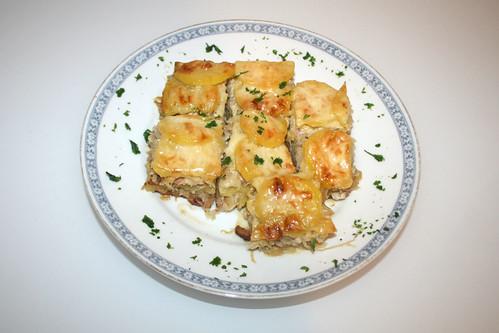 Leberkäse Sauerkraut Kartoffel Auflauf - aufgewärmt