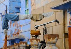 Indian Necessities (Irene Stylianou) Tags: india bike bicycle indian streetphotography laundry nikkor dslr nikondigital vr rajasthan jodhpur suncity bluecity nikoncamera hangingclothes nikkor18200mm  nikond300  irenestylianou nikkorzoomlens18200mmf3556