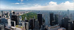 New York Panorama 9th Sept 2011 (Box crop)(Topaz) (Mat W) Tags: morning newyork skyline cityscape 30rock stitchedpanorama rockefellertower september2011 topazadjust
