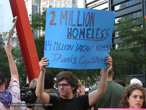 NYC Occupy Wall Street Rally Oct 8 2011 homeless sign