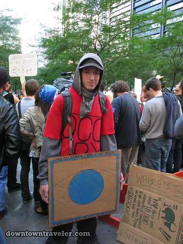 NYC Occupy Wall Street Rally Oct 8 2011 world sign