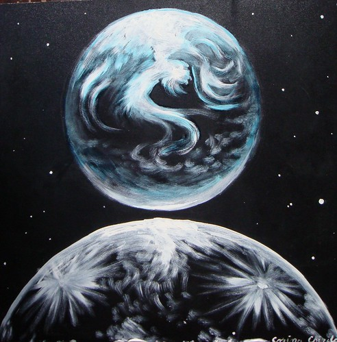 PamantSiLuna - The Earth and the moon acrylic painting