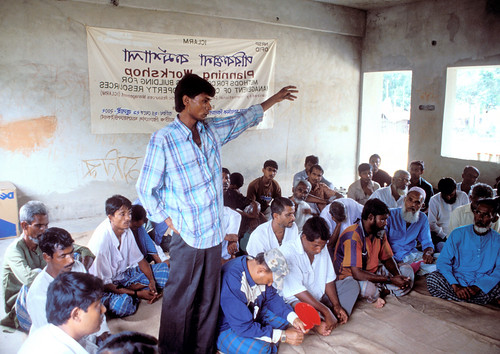 A representative for landless workers makes his point during the workshop on pooling resources for better use of the fishwaters. Bangladesh. Photo by Ebbe Schioler, 2002