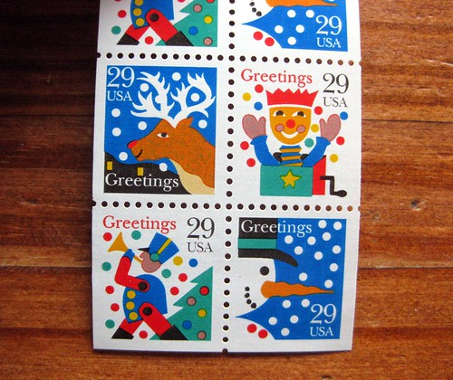 Vintage Happy Holidays greetings stamps