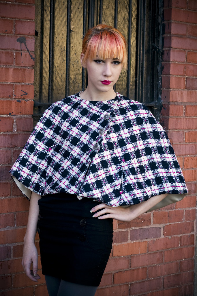 Plaid wool capelet
