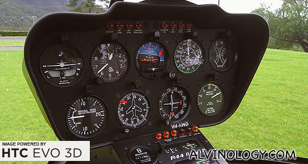 The helicopter control panel