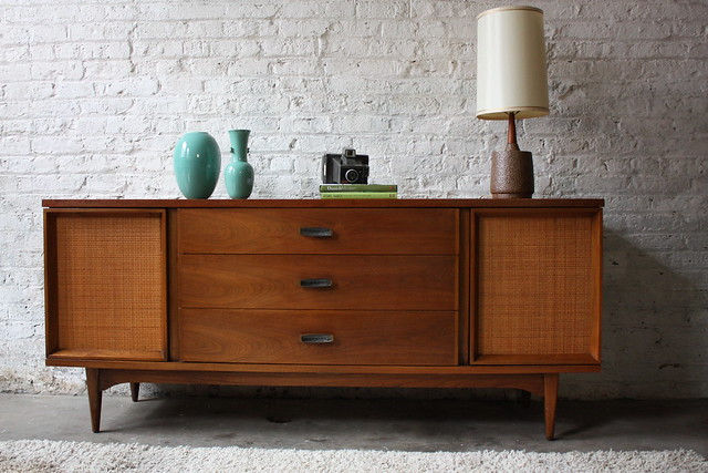 Timeless Kent Coffey MCM Credenza/ Dresser (Walnut & Elm w/ Caned Door Fronts, 1960)