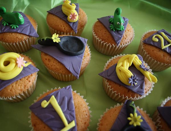 Otros detalles de los cupcakes de Rapunzel