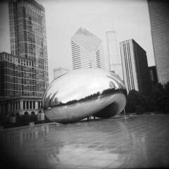 Cloud Gate (David Cory) Tags: chicago mediumformat holga toycamera diafine tx400