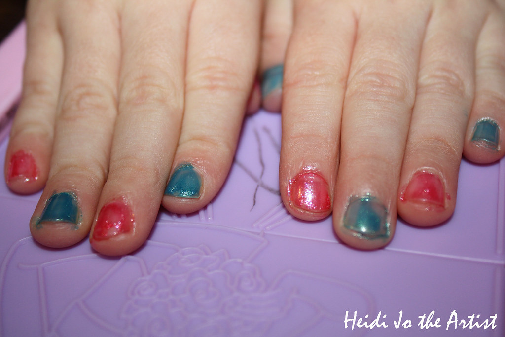 Blue & Pink Painted Nails