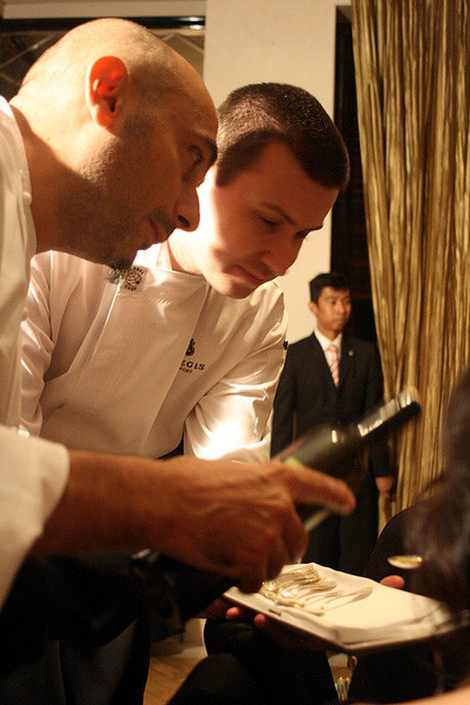 Chef Anthony Genovese (foreground) with Alexandre Lozachmeur, Chef de Cuisine of Brasserie Les Saveurs