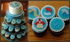 Smurf Tower (Christina's Dessertery) Tags: birthday blue boy house tower girl cake cupcakes cupcake papa smurf toppers smurfette gumpaste mushroon