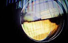 Lens Lust (35multimedia LLC) Tags: blue orange reflection window glass canon lens purple ring l blinds 2470mm