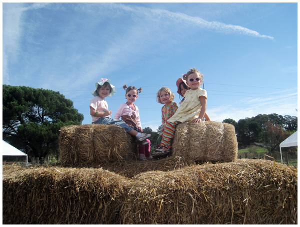 Girls atop a hay pyramid