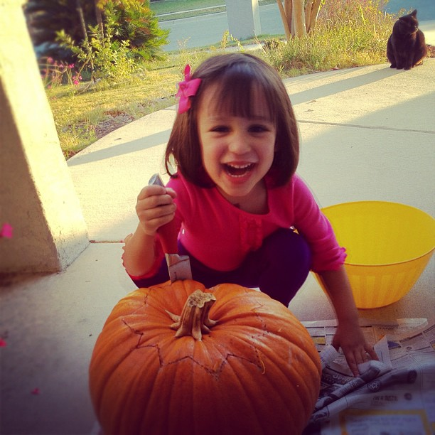 4-year-old: carving pumpkin's sworn enemy: