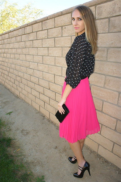 Hot pink pleated skirt with polka dots