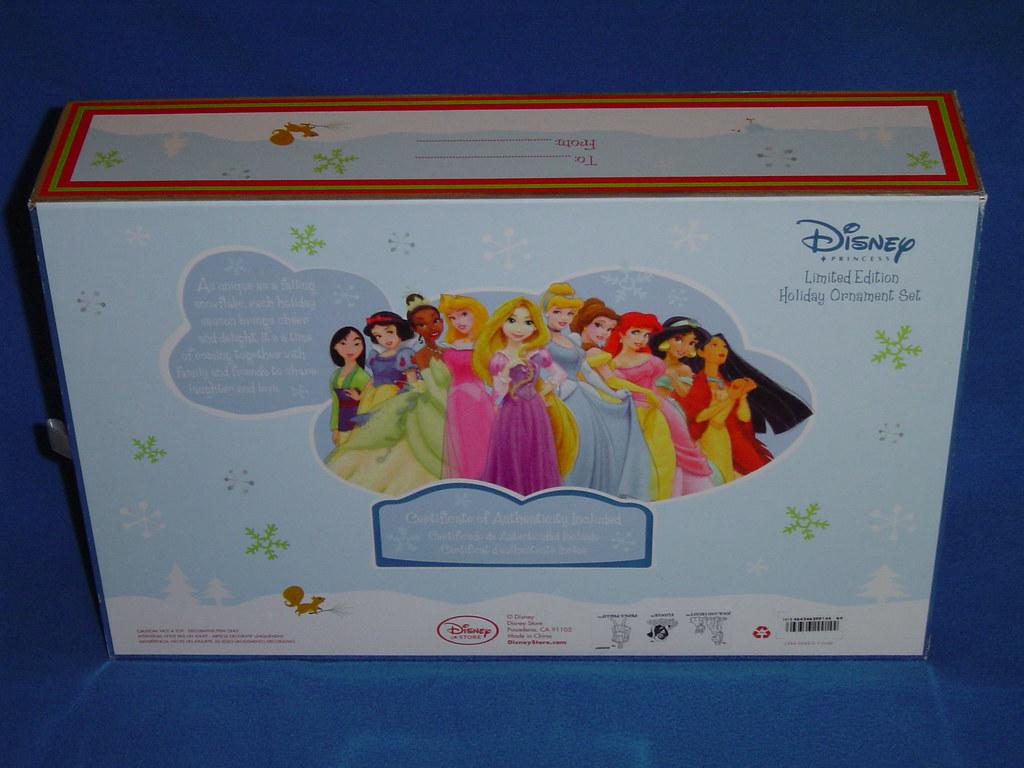 Limited Edition Disney Princess Ornament Set - Box Bottom and Side