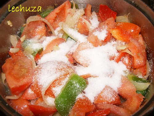 Salsa tomate verduras-azucar y sal