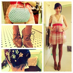 the complete gig (Sherri DuPree Bemis) Tags: cherryblossom bluehair pinkdress forever21 weddingguest beadedpurse whatiwore sherridupree dailyoutfit brogues vintagepurse modcloth specialeffectsbluevelvet oxfordheels brogueheels sherribemis
