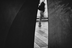 into the gap (StephenCairns) Tags: street blackandwhite bw sculpture japan night streetphotography motionblur   gifu urbanspaces   30mmsigmaf14 canon50d metaltextures  50dcanon michaelkistler mdkistler